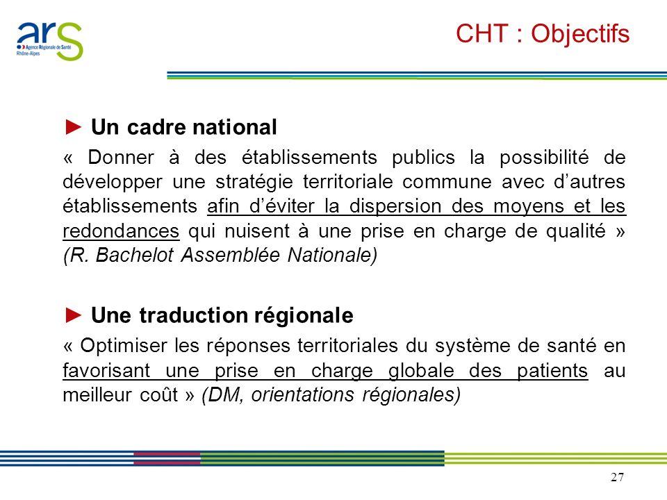 27 CHT : Objectifs Un cadre national « Donner à des établissements publics la possibilité de développer une stratégie territoriale commune avec dautre