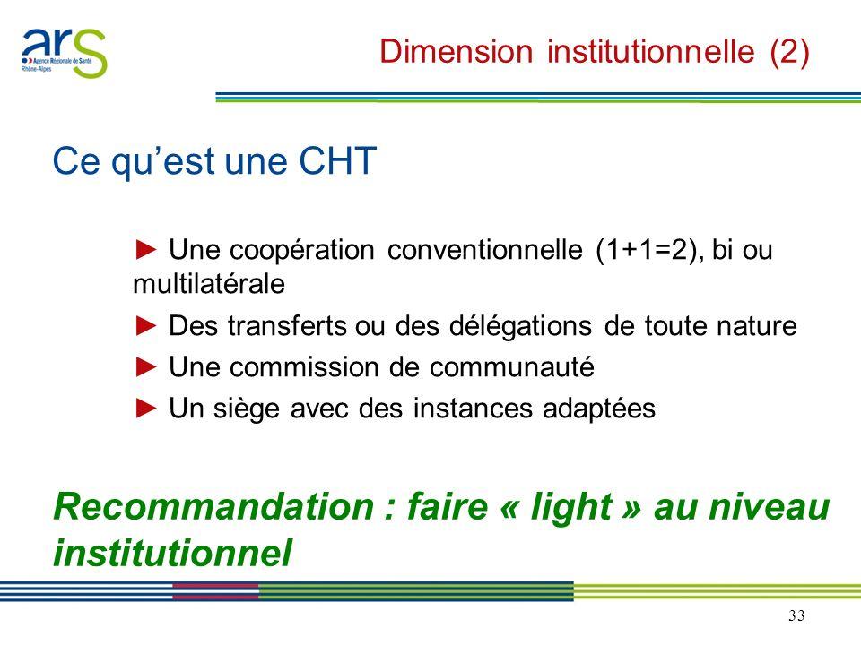 33 Dimension institutionnelle (2) Ce quest une CHT Une coopération conventionnelle (1+1=2), bi ou multilatérale Des transferts ou des délégations de t