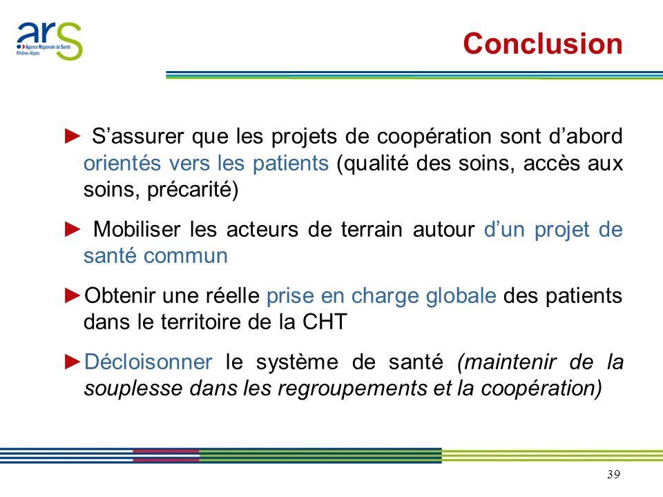 39 Sassurer que les projets de coopération sont dabord orientés vers les patients (qualité des soins, accès aux soins, précarité) Mobiliser les acteur