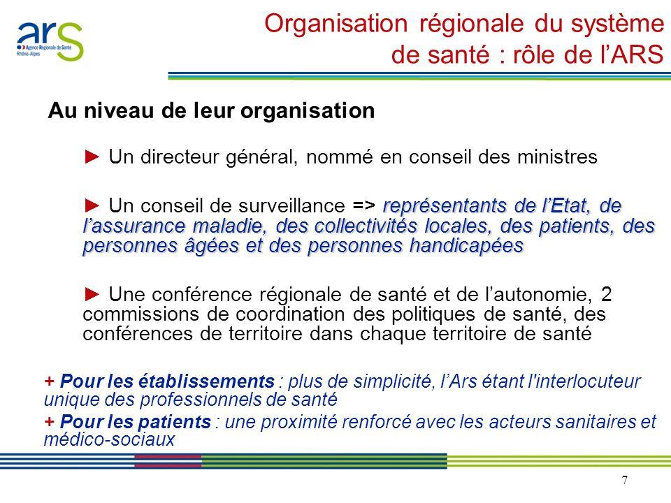 7 Organisation régionale du système de santé : rôle de lARS Au niveau de leur organisation Un directeur général, nommé en conseil des ministres représ