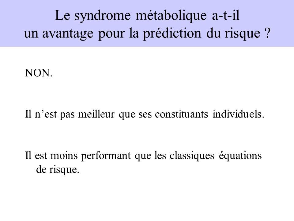 Le syndrome métabolique a-t-il un avantage pour la prédiction du risque ? NON. Il nest pas meilleur que ses constituants individuels. Il est moins per