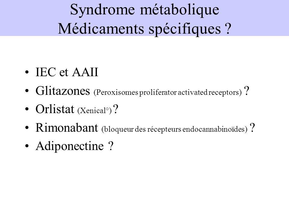 IEC et AAII Glitazones (Peroxisomes proliferator activated receptors) ? Orlistat (Xenical°) ? Rimonabant (bloqueur des récepteurs endocannabinoïdes) ?
