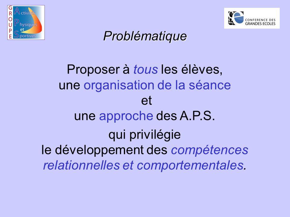 Problématique Proposer à tous les élèves, une organisation de la séance et une approche des A.P.S.
