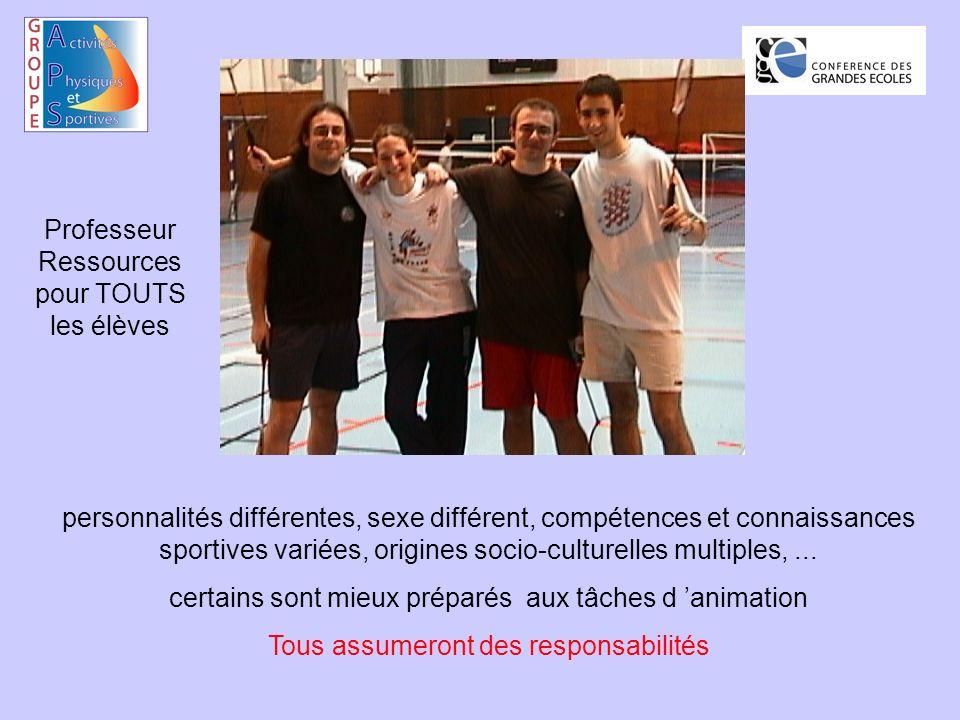 personnalités différentes, sexe différent, compétences et connaissances sportives variées, origines socio-culturelles multiples,...