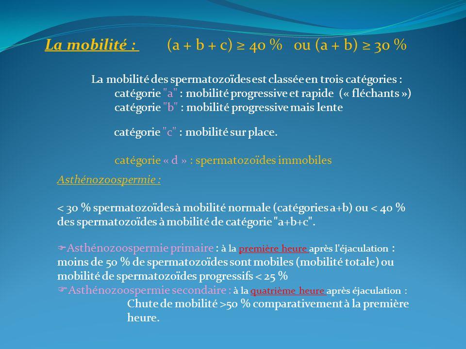 La mobilité : (a + b + c) 40 % ou (a + b) 30 % La mobilité des spermatozoïdes est classée en trois catégories : catégorie