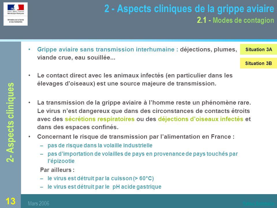 13 2 - Aspects cliniques de la grippe aviaire 2.1 - Modes de contagion Grippe aviaire sans transmission interhumaine : déjections, plumes, viande crue, eau souillée...