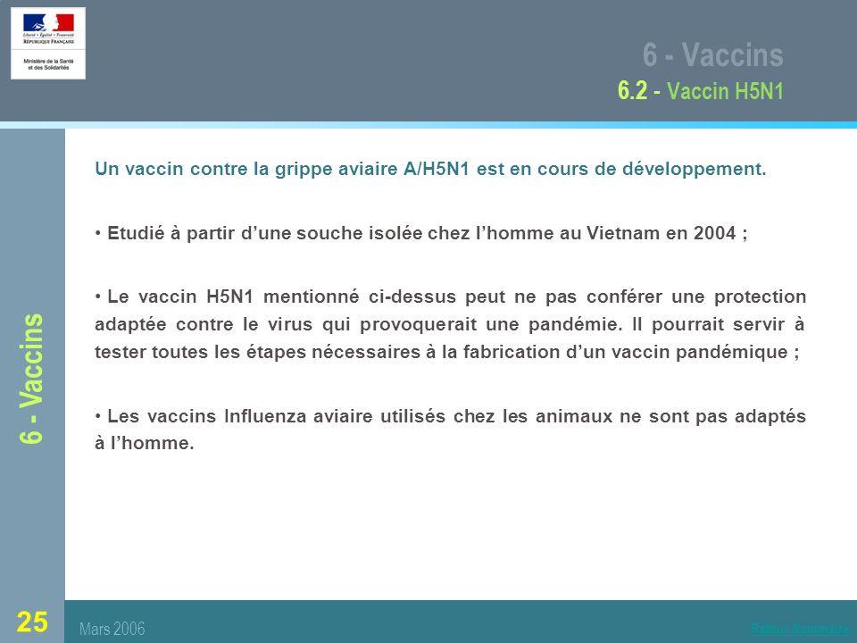 25 6 - Vaccins 6.2 - Vaccin H5N1 Un vaccin contre la grippe aviaire A/H5N1 est en cours de développement.