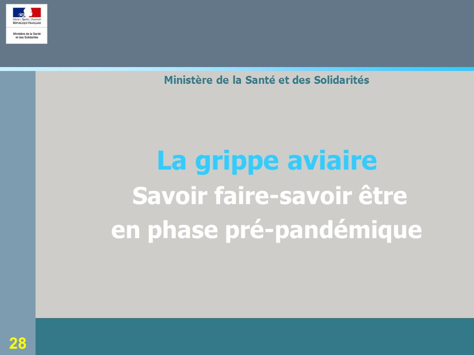 28 Ministère de la Santé et des Solidarités La grippe aviaire Savoir faire-savoir être en phase pré-pandémique