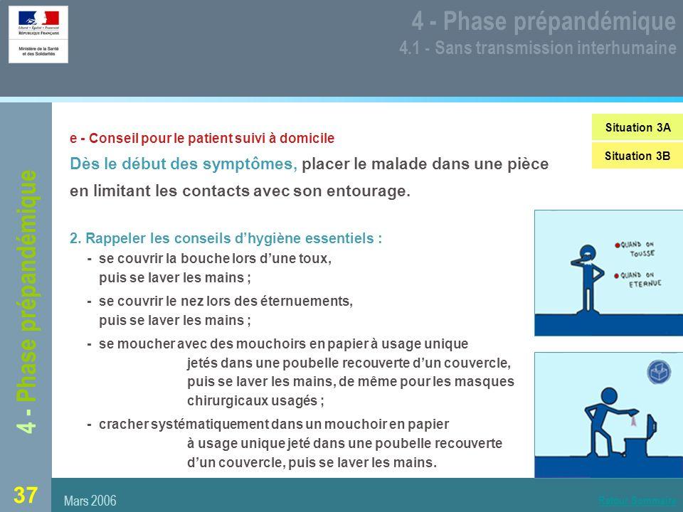 37 4 - Phase prépandémique 4.1 - Sans transmission interhumaine e - Conseil pour le patient suivi à domicile Dès le début des symptômes, placer le malade dans une pièce en limitant les contacts avec son entourage.