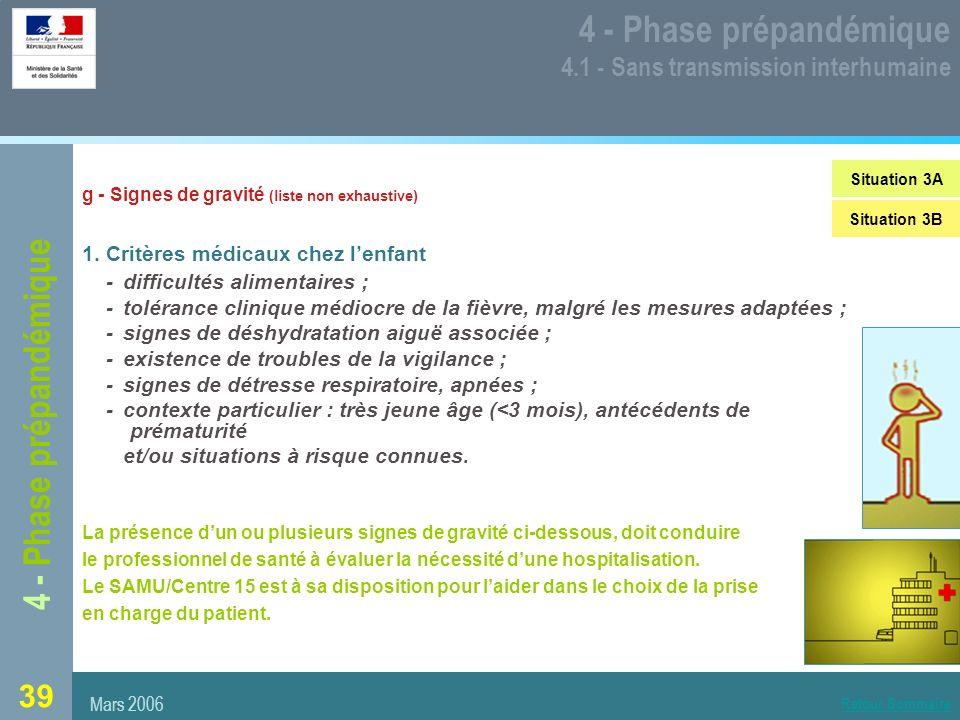 39 4 - Phase prépandémique 4.1 - Sans transmission interhumaine g - Signes de gravité (liste non exhaustive) 1.