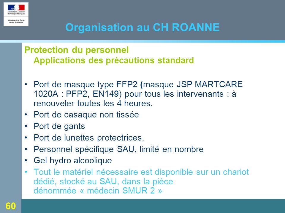60 Organisation au CH ROANNE Protection du personnel Applications des précautions standard Port de masque type FFP2 (masque JSP MARTCARE 1020A : PFP2, EN149) pour tous les intervenants : à renouveler toutes les 4 heures.