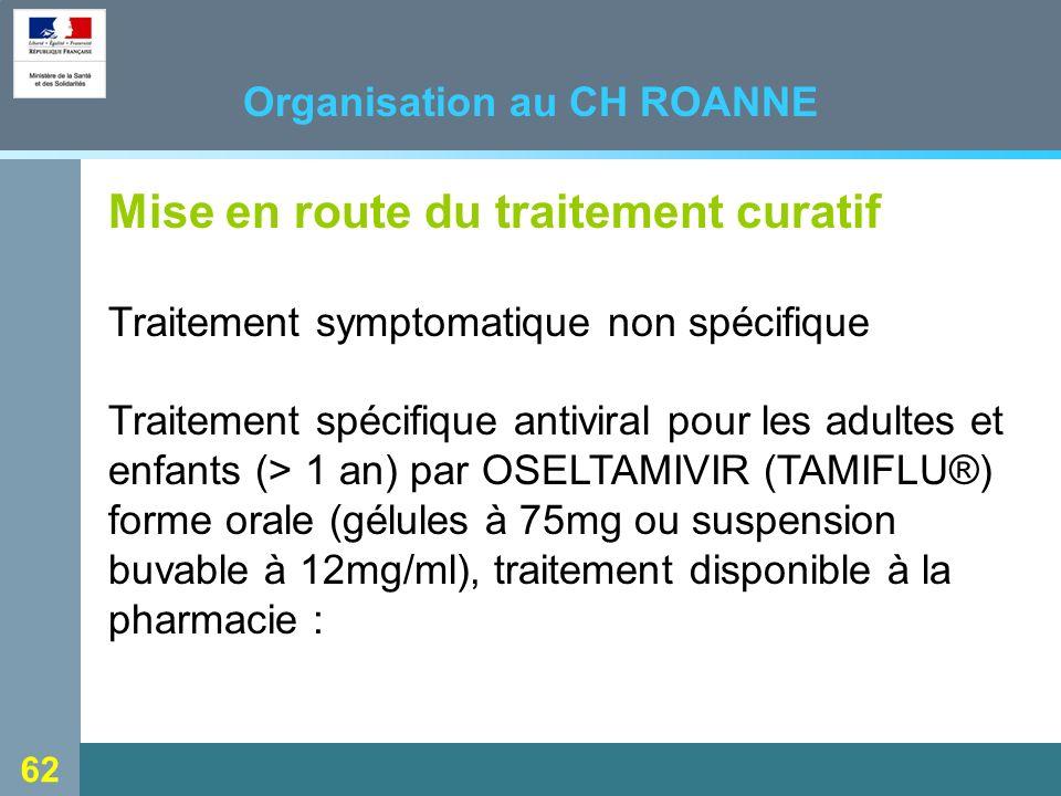 62 Organisation au CH ROANNE Mise en route du traitement curatif Traitement symptomatique non spécifique Traitement spécifique antiviral pour les adultes et enfants (> 1 an) par OSELTAMIVIR (TAMIFLU®) forme orale (gélules à 75mg ou suspension buvable à 12mg/ml), traitement disponible à la pharmacie :