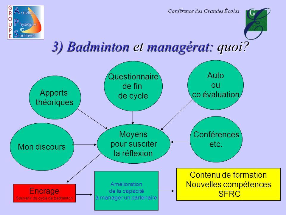 Conférence des Grandes Écoles 3) Badminton et managérat: quoi.