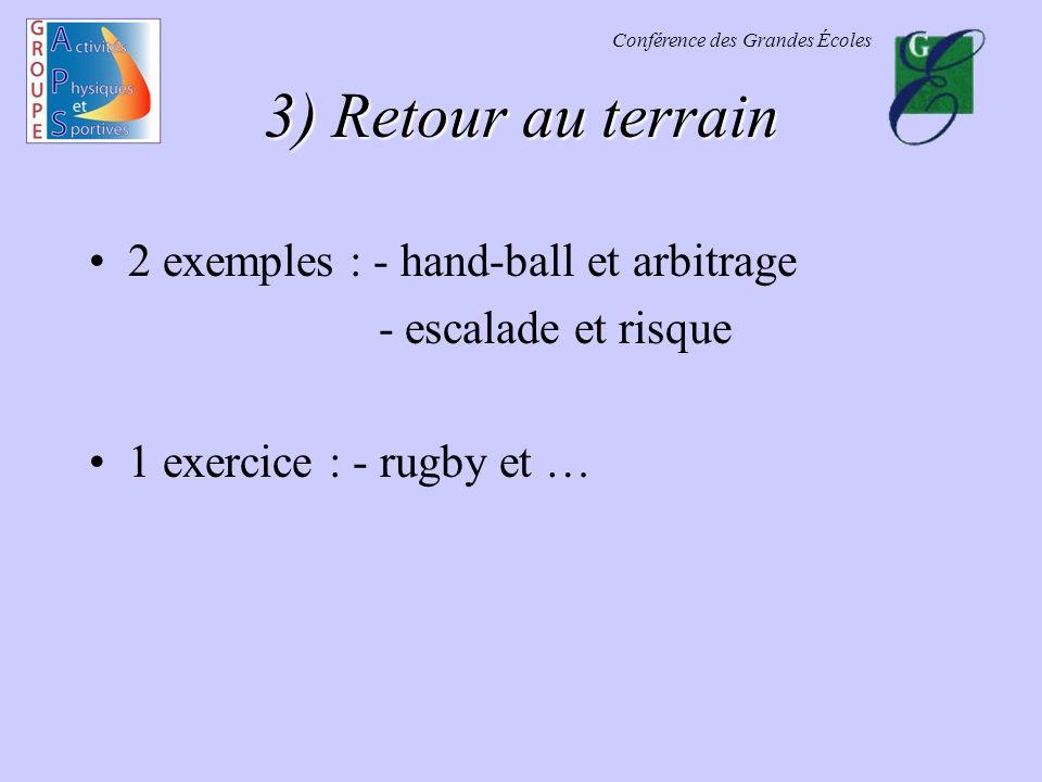 Conférence des Grandes Écoles 3) Retour au terrain 2 exemples : - hand-ball et arbitrage - escalade et risque 1 exercice : - rugby et …