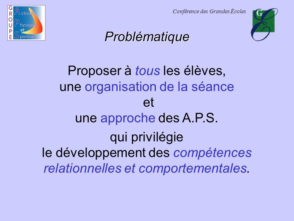 Conférence des Grandes Écoles Problématique Proposer à tous les élèves, une organisation de la séance et une approche des A.P.S.