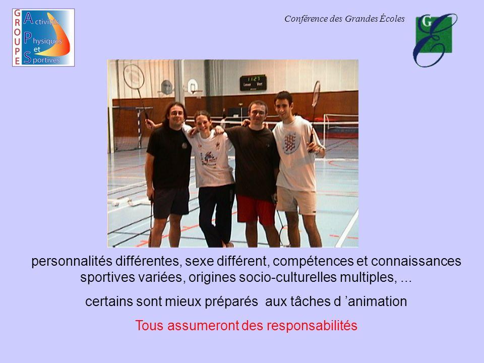 Conférence des Grandes Écoles personnalités différentes, sexe différent, compétences et connaissances sportives variées, origines socio-culturelles multiples,...