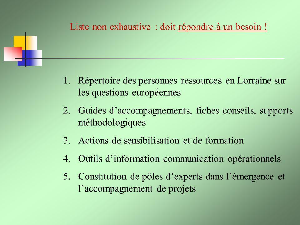Liste non exhaustive : doit répondre à un besoin ! 1.Répertoire des personnes ressources en Lorraine sur les questions européennes 2.Guides daccompagn
