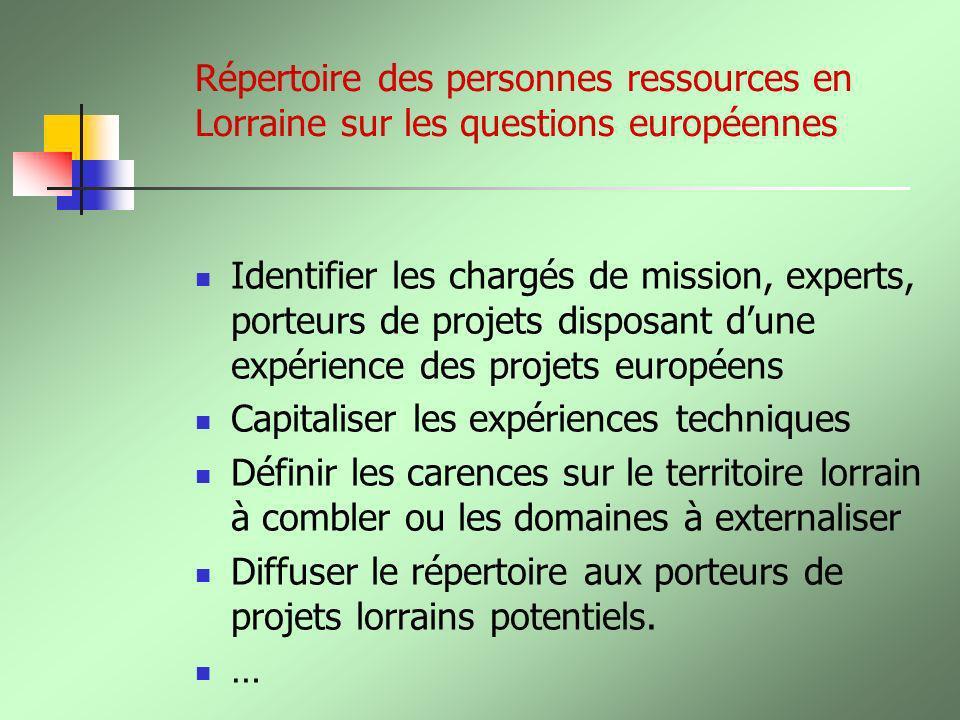 Répertoire des personnes ressources en Lorraine sur les questions européennes Identifier les chargés de mission, experts, porteurs de projets disposan