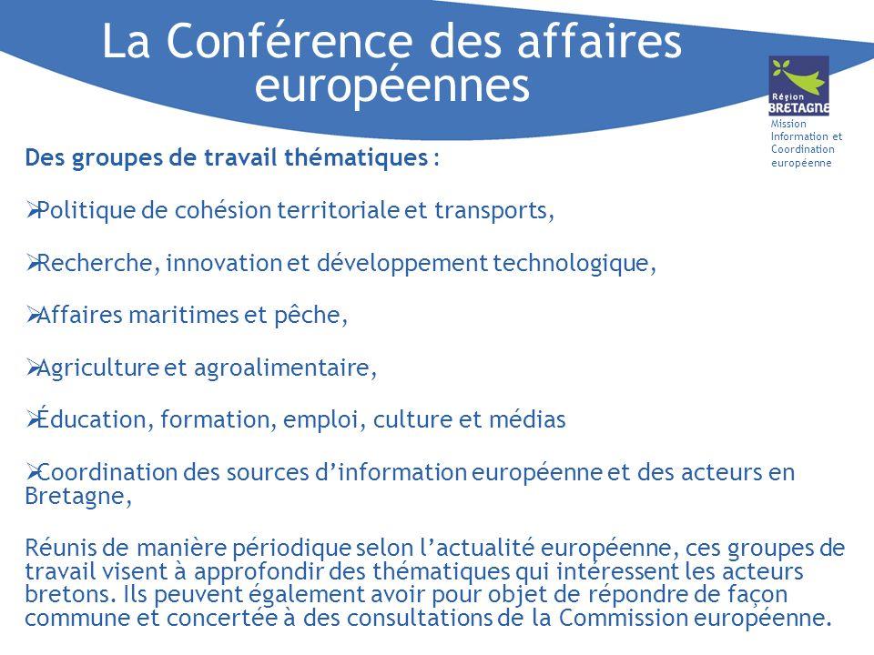 Mission Information et Coordination européenne Des groupes de travail thématiques : Politique de cohésion territoriale et transports, Recherche, innov