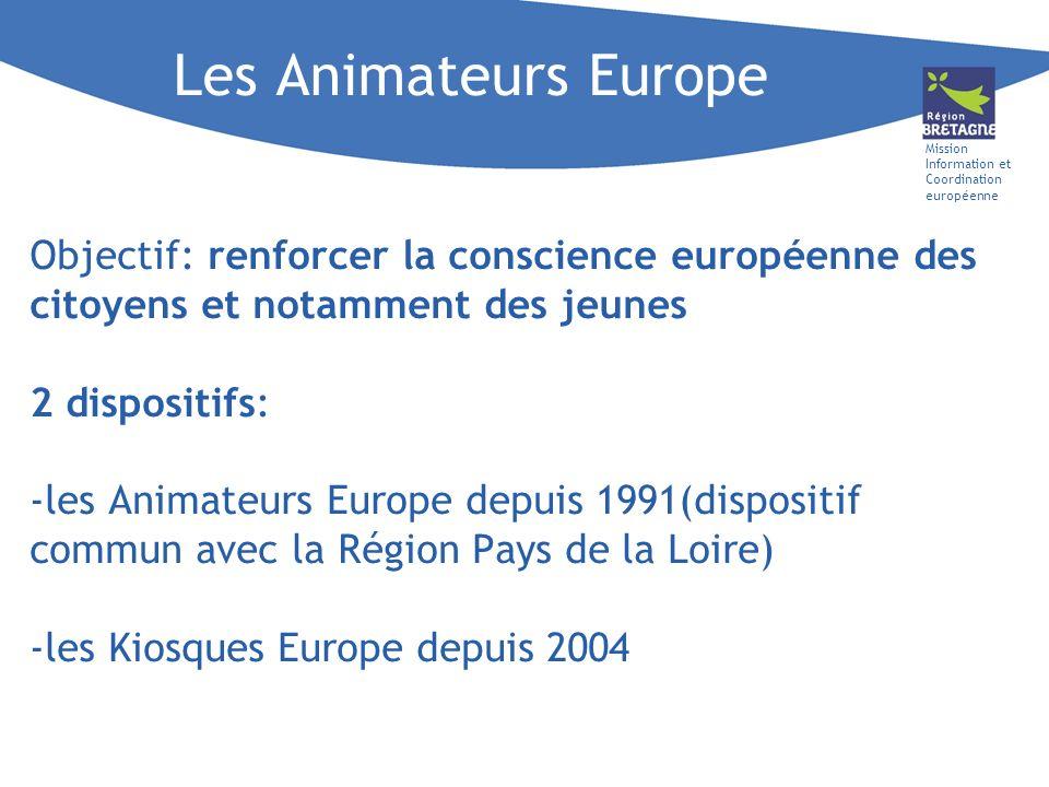 Mission Information et Coordination européenne Objectif: renforcer la conscience européenne des citoyens et notamment des jeunes 2 dispositifs: -les A
