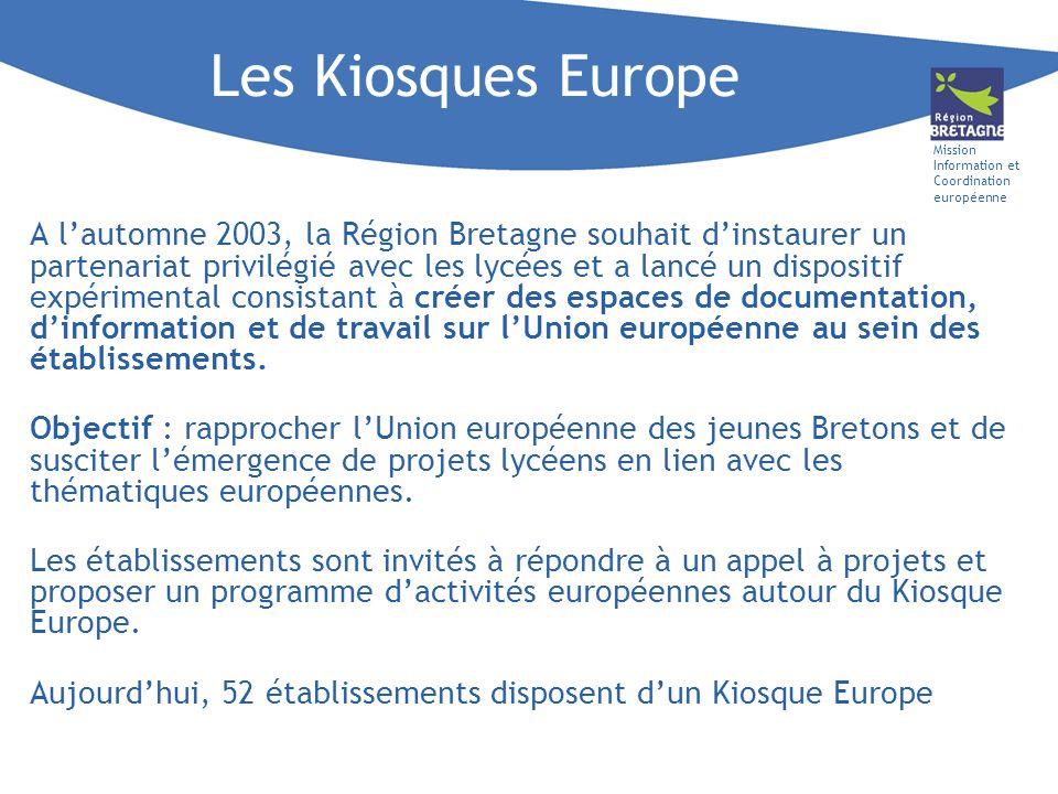 Mission Information et Coordination européenne Les Kiosques Europe A lautomne 2003, la Région Bretagne souhait dinstaurer un partenariat privilégié avec les lycées et a lancé un dispositif expérimental consistant à créer des espaces de documentation, dinformation et de travail sur lUnion européenne au sein des établissements.
