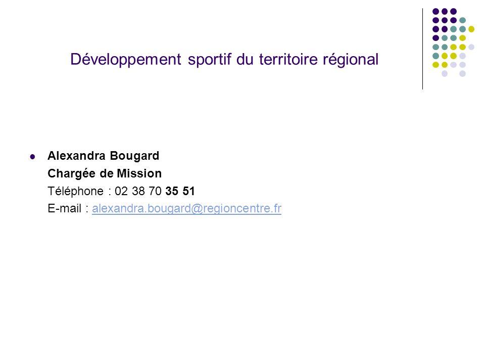 Développement sportif du territoire régional Alexandra Bougard Chargée de Mission Téléphone : 02 38 70 35 51 E-mail : alexandra.bougard@regioncentre.f