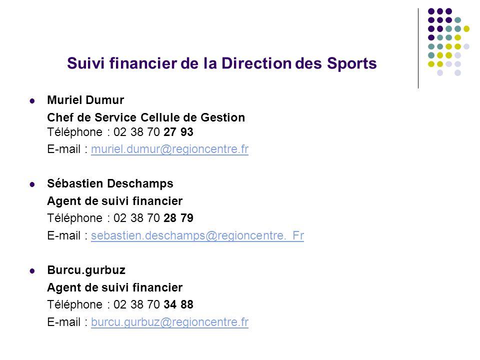 Suivi financier de la Direction des Sports Muriel Dumur Chef de Service Cellule de Gestion Téléphone : 02 38 70 27 93 E-mail : muriel.dumur@regioncent