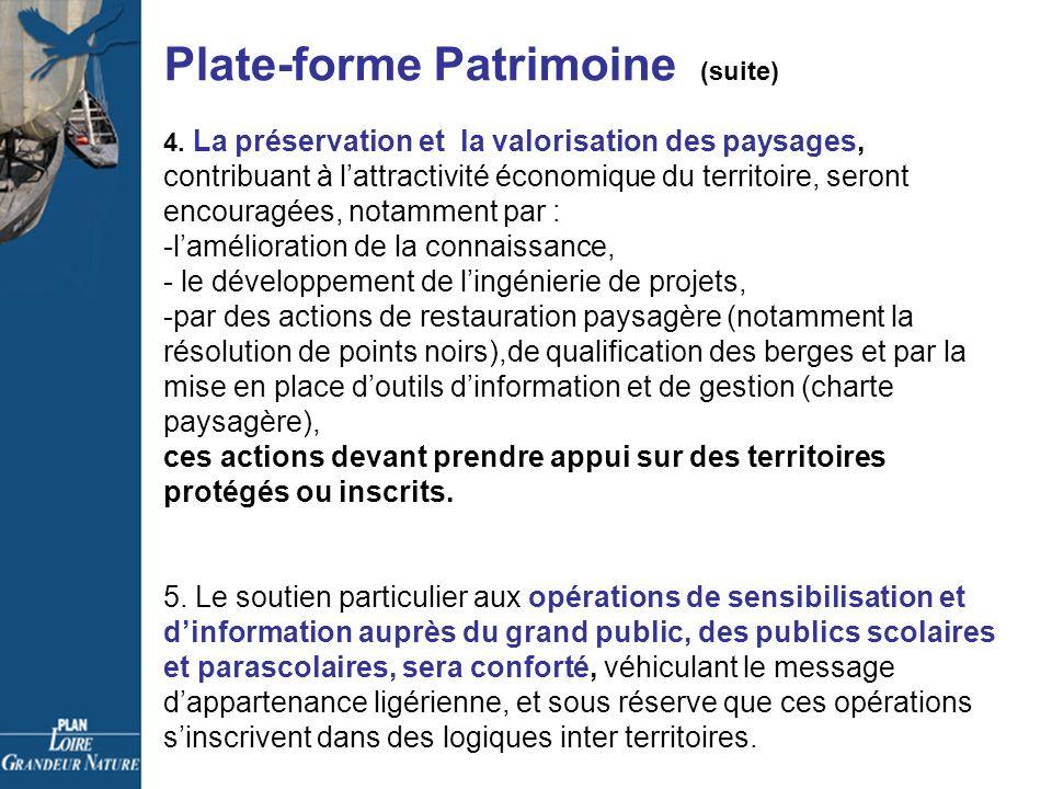 Plate-forme Patrimoine (suite) 4.