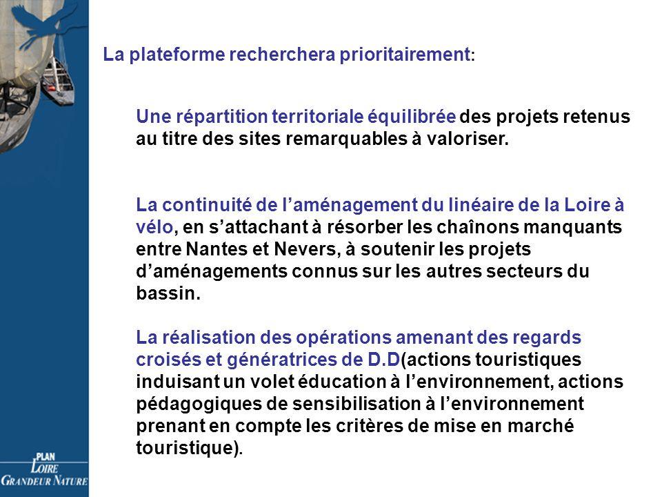 La plateforme recherchera prioritairement : Une répartition territoriale équilibrée des projets retenus au titre des sites remarquables à valoriser.