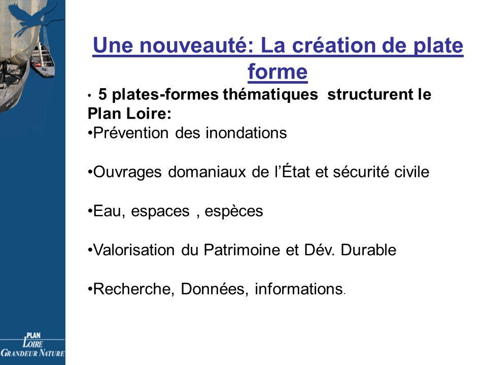 Une nouveauté: La création de plate forme 5 plates-formes thématiques structurent le Plan Loire: Prévention des inondations Ouvrages domaniaux de lÉtat et sécurité civile Eau, espaces, espèces Valorisation du Patrimoine et Dév.
