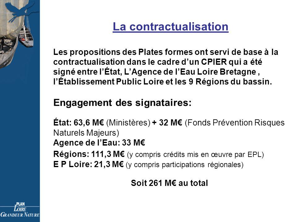 La contractualisation Les propositions des Plates formes ont servi de base à la contractualisation dans le cadre dun CPIER qui a été signé entre lÉtat, LAgence de lEau Loire Bretagne, lÉtablissement Public Loire et les 9 Régions du bassin.