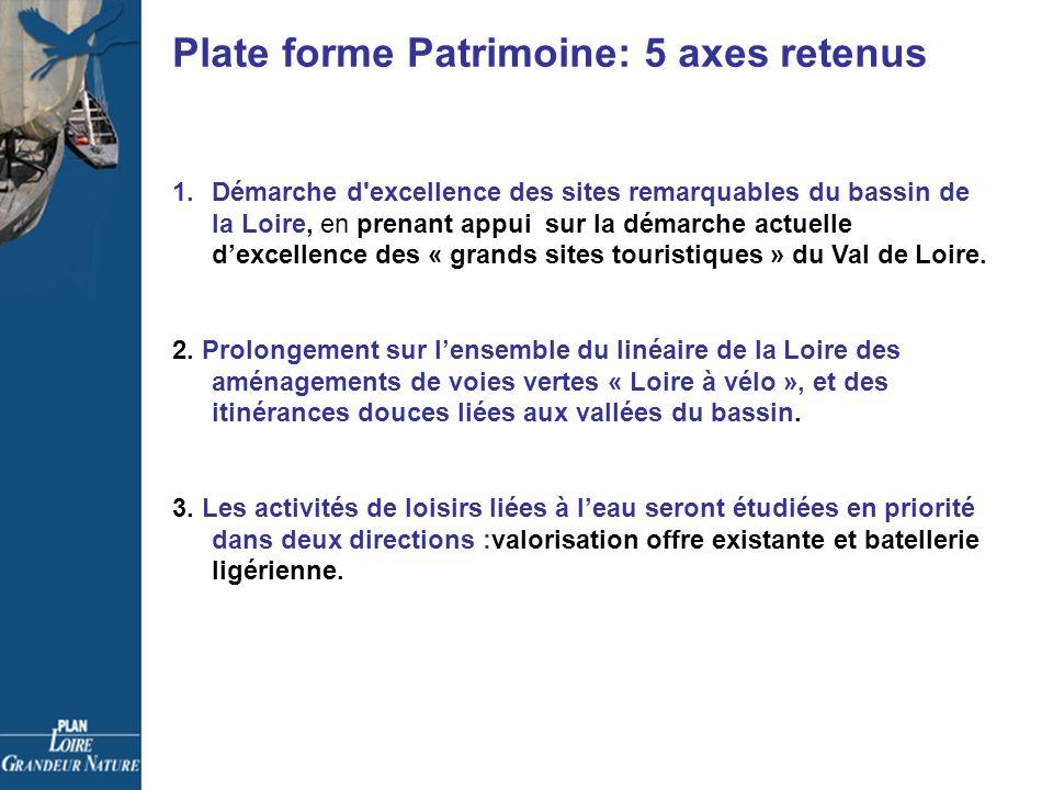 Plate forme Patrimoine: 5 axes retenus 1.Démarche d excellence des sites remarquables du bassin de la Loire, en prenant appui sur la démarche actuelle dexcellence des « grands sites touristiques » du Val de Loire.