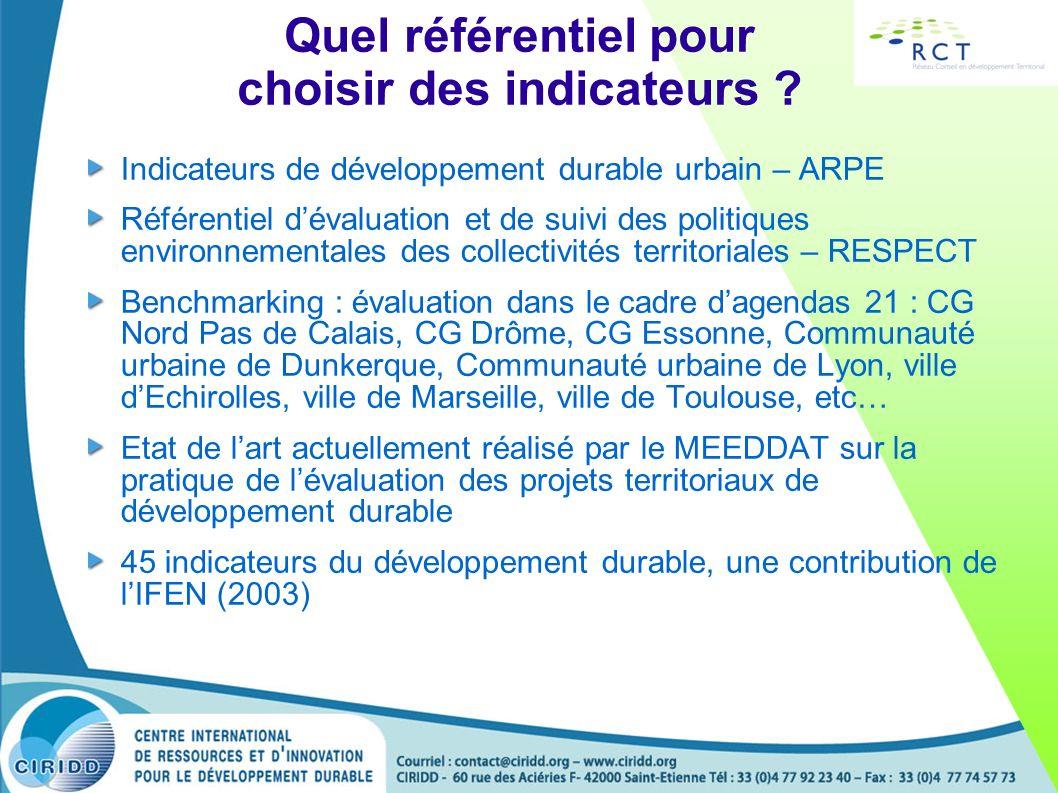 Quel référentiel pour choisir des indicateurs ? Indicateurs de développement durable urbain – ARPE Référentiel dévaluation et de suivi des politiques