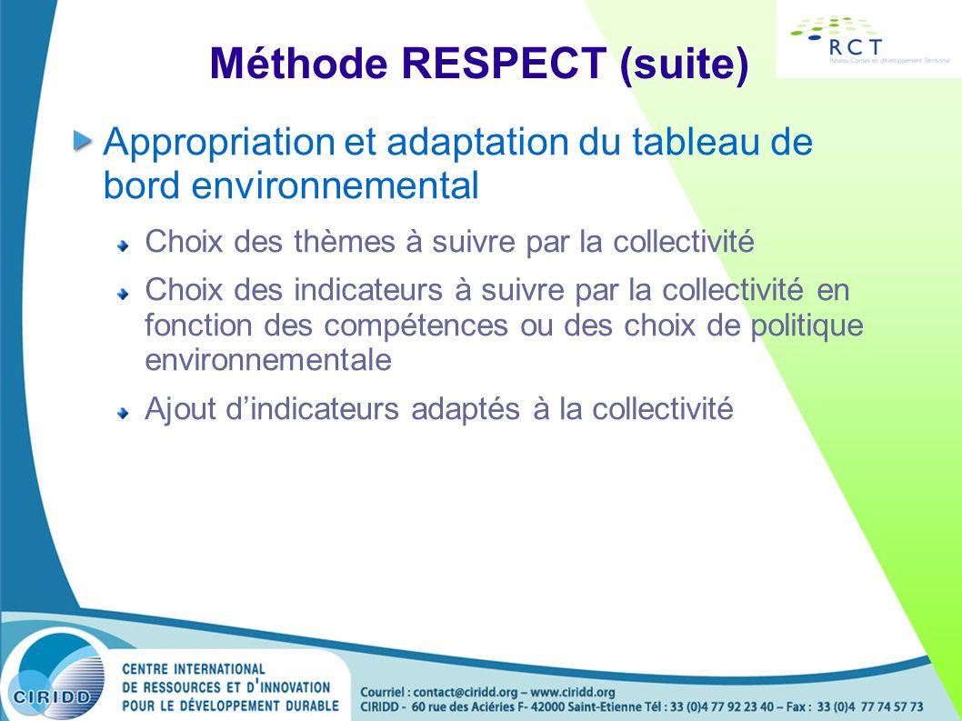 Méthode RESPECT (suite) Appropriation et adaptation du tableau de bord environnemental Choix des thèmes à suivre par la collectivité Choix des indicat