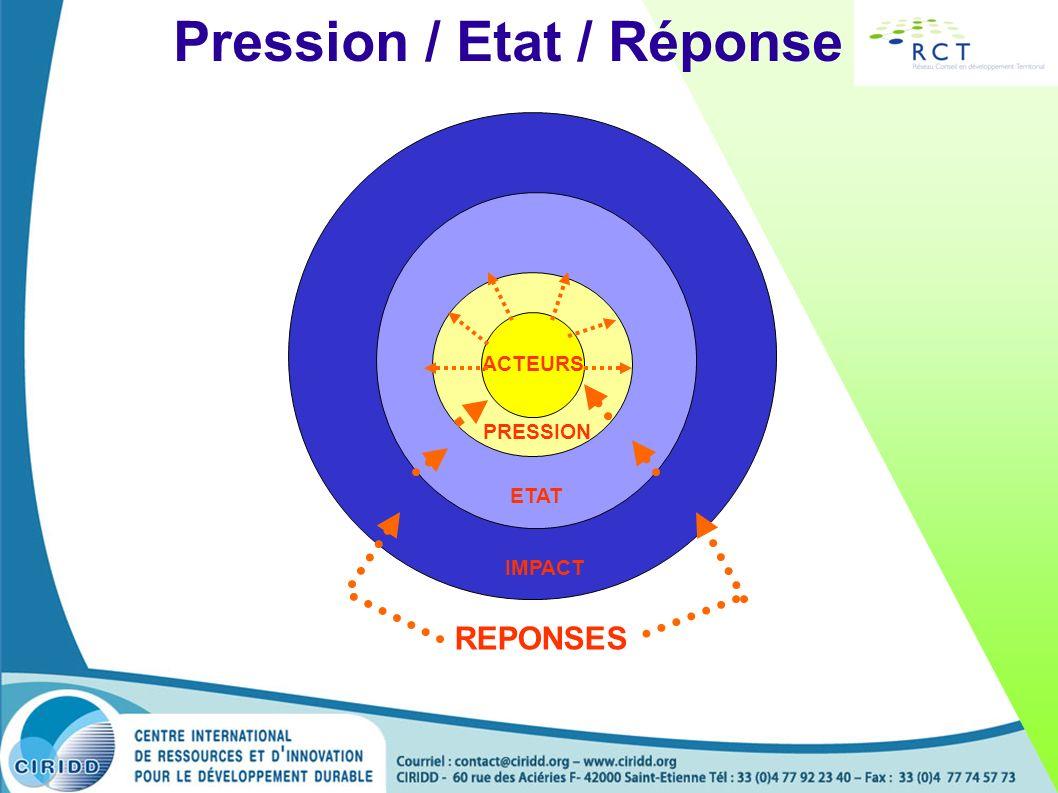Pression / Etat / Réponse ACTEURS PRESSION ETAT IMPACT REPONSES