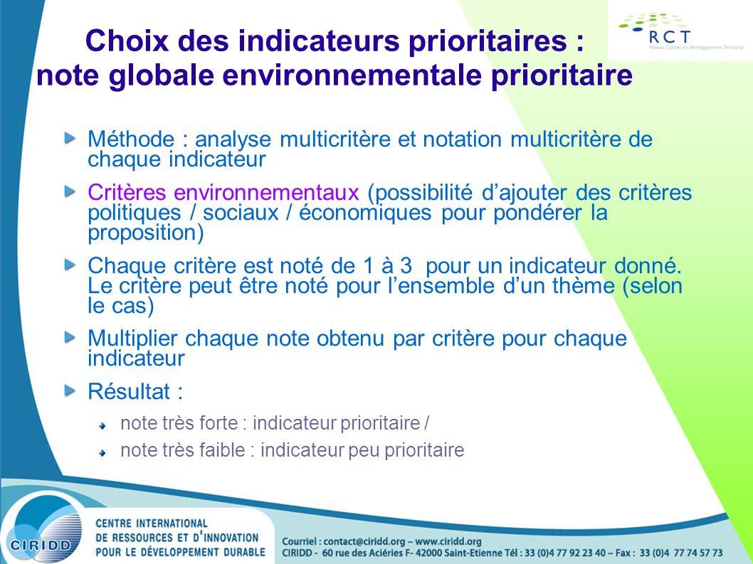 Choix des indicateurs prioritaires : note globale environnementale prioritaire Méthode : analyse multicritère et notation multicritère de chaque indic