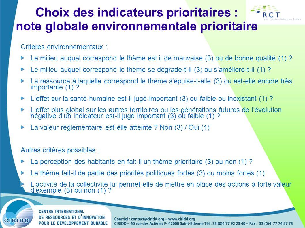 Choix des indicateurs prioritaires : note globale environnementale prioritaire Critères environnementaux : Le milieu auquel correspond le thème est il