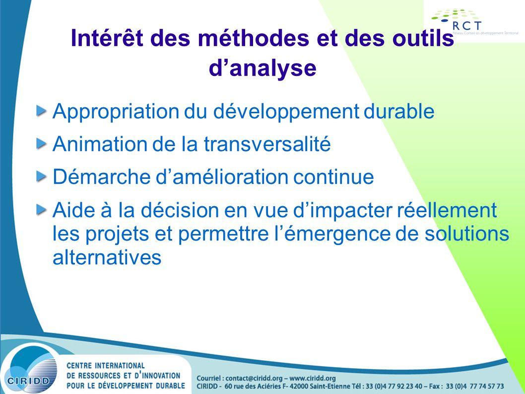Intérêt des méthodes et des outils danalyse Appropriation du développement durable Animation de la transversalité Démarche damélioration continue Aide