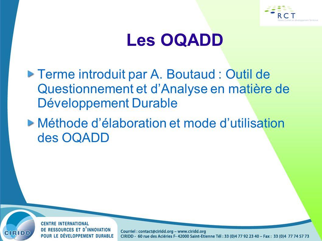 Les OQADD Terme introduit par A. Boutaud : Outil de Questionnement et dAnalyse en matière de Développement Durable Méthode délaboration et mode dutili