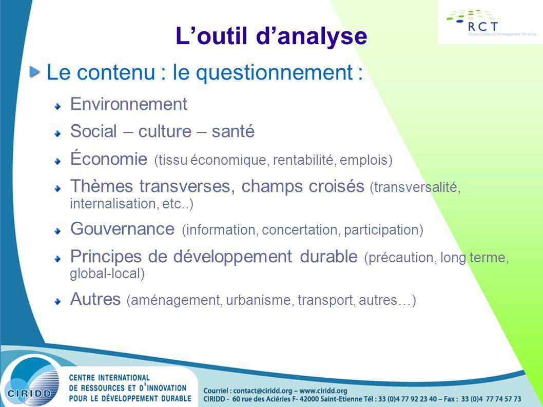 Loutil danalyse Le contenu : le questionnement : Environnement Social – culture – santé Économie (tissu économique, rentabilité, emplois) Thèmes trans