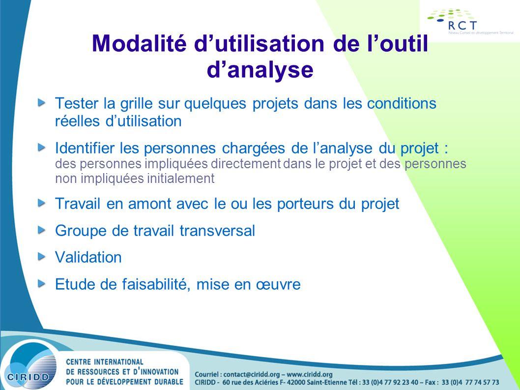 Modalité dutilisation de loutil danalyse Tester la grille sur quelques projets dans les conditions réelles dutilisation Identifier les personnes charg