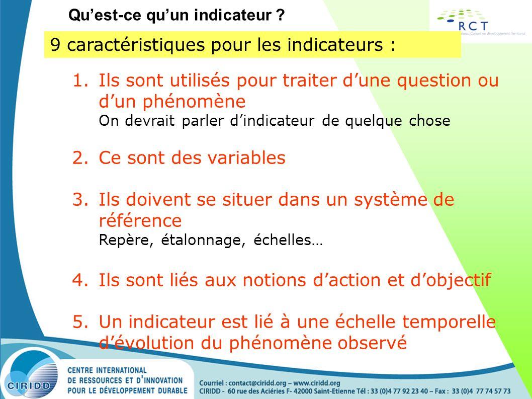 9 caractéristiques pour les indicateurs : 1.Ils sont utilisés pour traiter dune question ou dun phénomène On devrait parler dindicateur de quelque cho