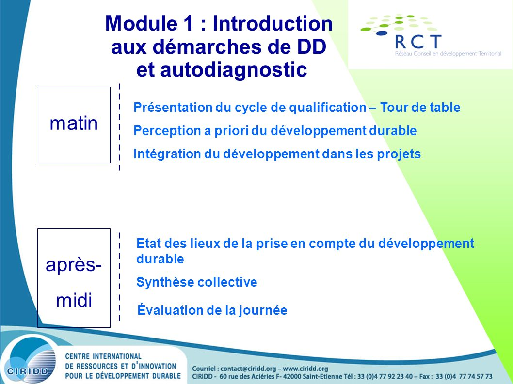 Module 1 : Introduction aux démarches de DD et autodiagnostic Présentation du cycle de qualification – Tour de table Perception a priori du développement durable Intégration du développement dans les projets Etat des lieux de la prise en compte du développement durable Synthèse collective Évaluation de la journée matin après- midi