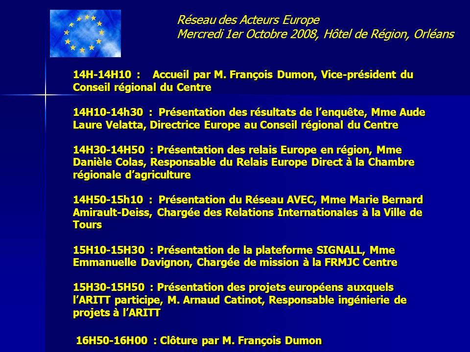 14H-14H10 : Accueil par M. François Dumon, Vice-président du Conseil régional du Centre 14H10-14h30 : Présentation des résultats de lenquête, Mme Aude