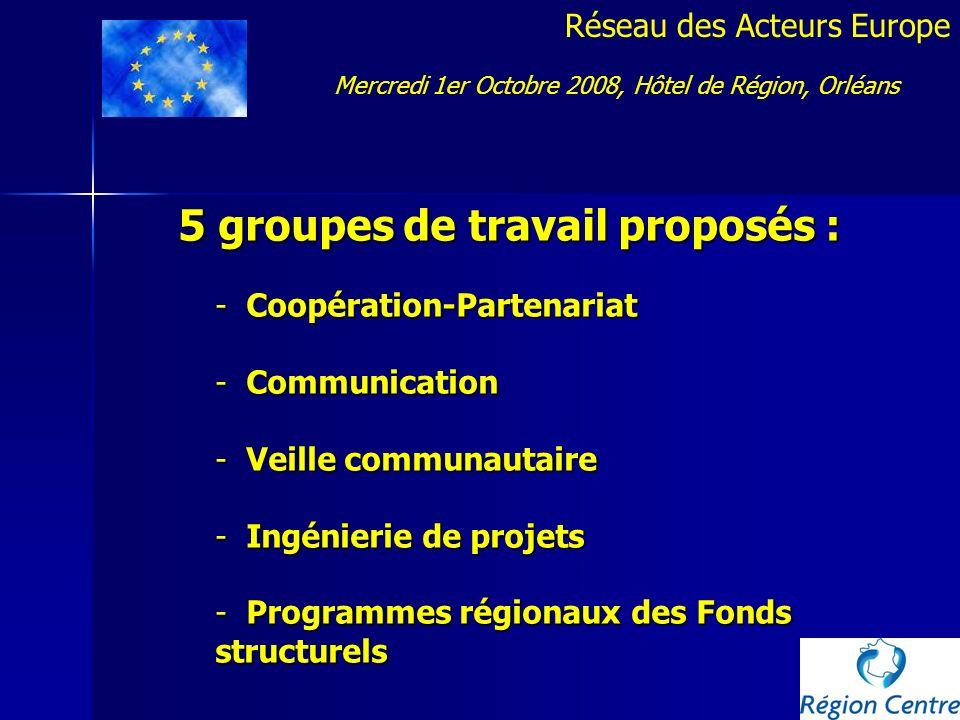 Réseau des Acteurs Europe 5 groupes de travail proposés : - Coopération-Partenariat - Communication - Veille communautaire - Ingénierie de projets - P