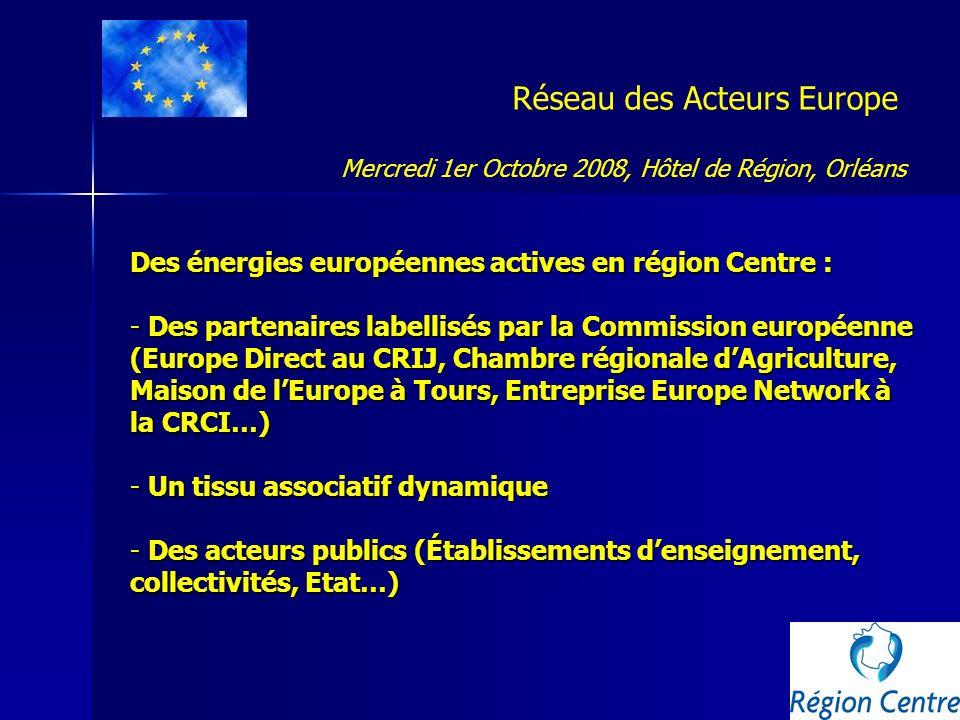 Réseau des Acteurs Europe 5 groupes de travail proposés : - Coopération-Partenariat - Communication - Veille communautaire - Ingénierie de projets - Programmes régionaux des Fonds structurels Mercredi 1er Octobre 2008, Hôtel de Région, Orléans