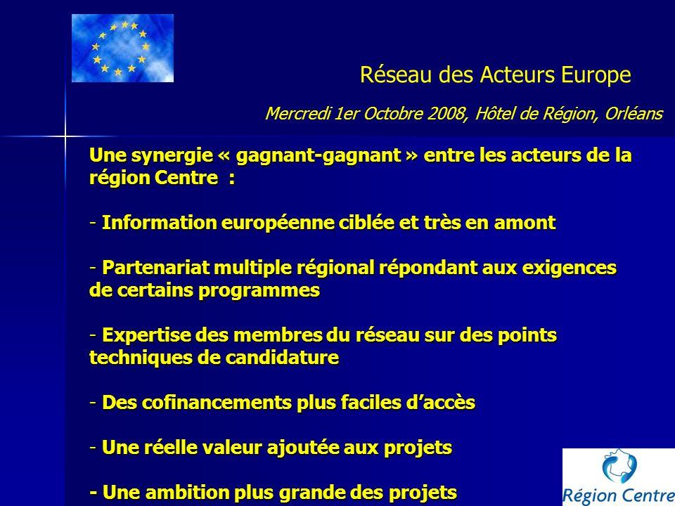 Réseau des Acteurs Europe Mais également, un accompagnement des acteurs non expérimentés : -Une implication plus grande du territoire -Une ouverture de la Région vers lextérieur -Des opportunités nouvelles à saisir -Un meilleur maillage du territoire -De nouveaux partenariats régionaux - L « accès » à la connaissance européenne Mercredi 1er Octobre 2008, Hôtel de Région, Orléans