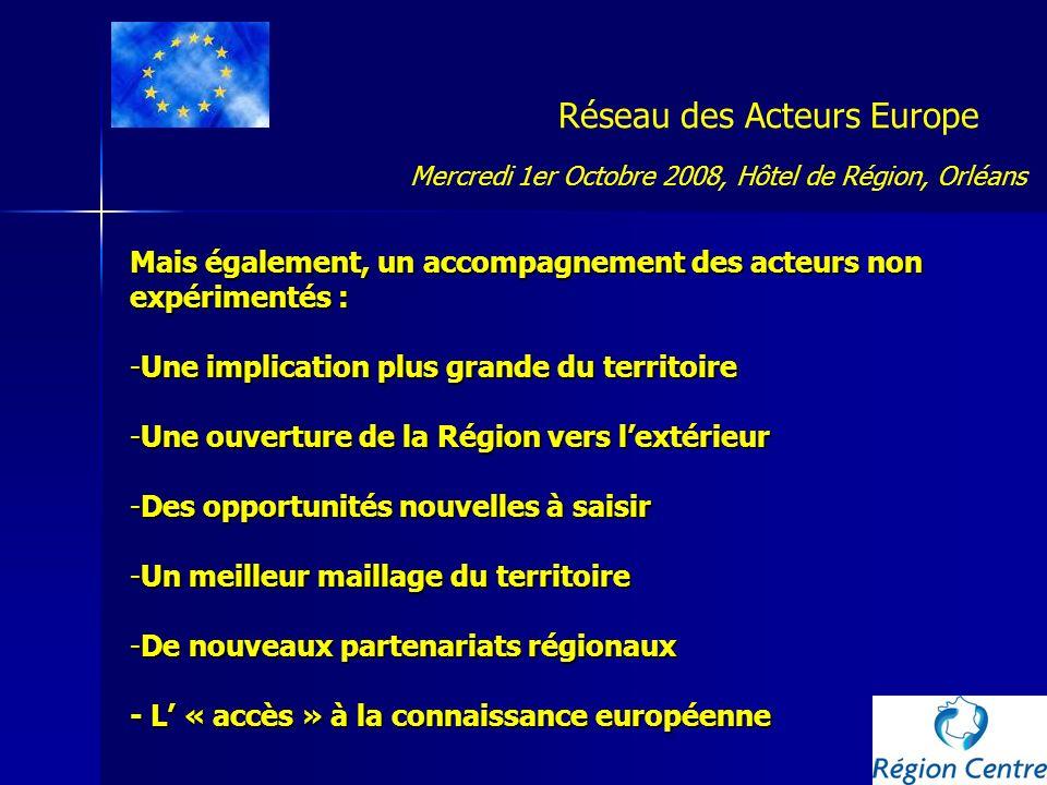 Réseau des Acteurs Europe Mais également, un accompagnement des acteurs non expérimentés : -Une implication plus grande du territoire -Une ouverture d