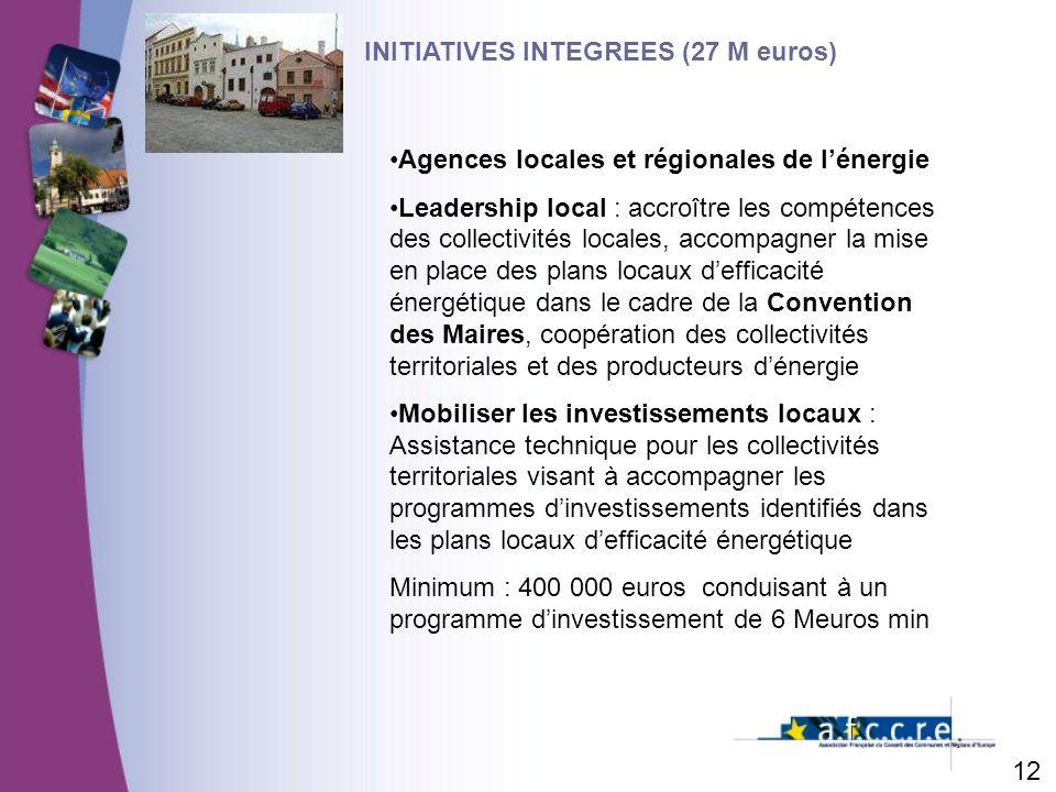 12 INITIATIVES INTEGREES (27 M euros) Agences locales et régionales de lénergie Leadership local : accroître les compétences des collectivités locales, accompagner la mise en place des plans locaux defficacité énergétique dans le cadre de la Convention des Maires, coopération des collectivités territoriales et des producteurs dénergie Mobiliser les investissements locaux : Assistance technique pour les collectivités territoriales visant à accompagner les programmes dinvestissements identifiés dans les plans locaux defficacité énergétique Minimum : 400 000 euros conduisant à un programme dinvestissement de 6 Meuros min