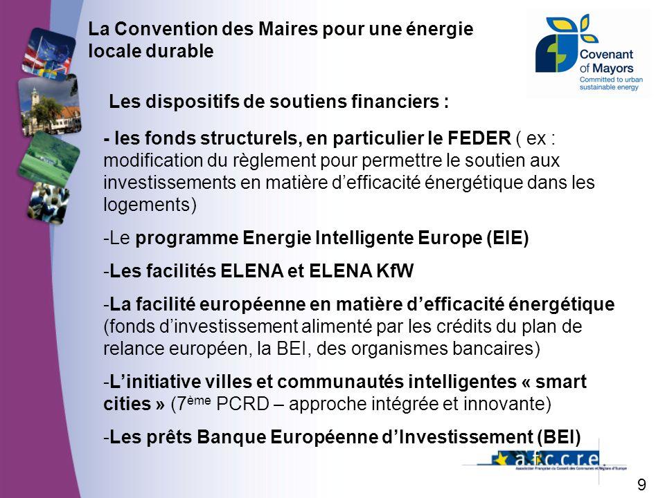 9 La Convention des Maires pour une énergie locale durable Les dispositifs de soutiens financiers : - les fonds structurels, en particulier le FEDER ( ex : modification du règlement pour permettre le soutien aux investissements en matière defficacité énergétique dans les logements) -Le programme Energie Intelligente Europe (EIE) -Les facilités ELENA et ELENA KfW -La facilité européenne en matière defficacité énergétique (fonds dinvestissement alimenté par les crédits du plan de relance européen, la BEI, des organismes bancaires) -Linitiative villes et communautés intelligentes « smart cities » (7 ème PCRD – approche intégrée et innovante) -Les prêts Banque Européenne dInvestissement (BEI)